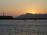 The Golden Gate Bridge Silhouetted at Sunset